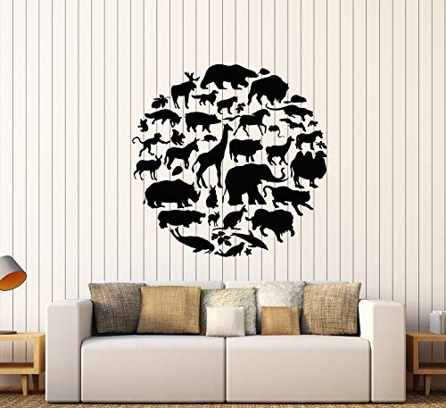 Vinyl Wall Decal Animal Planet Silhouette Wild Nature Stickers Large Decor (3327ig) Black