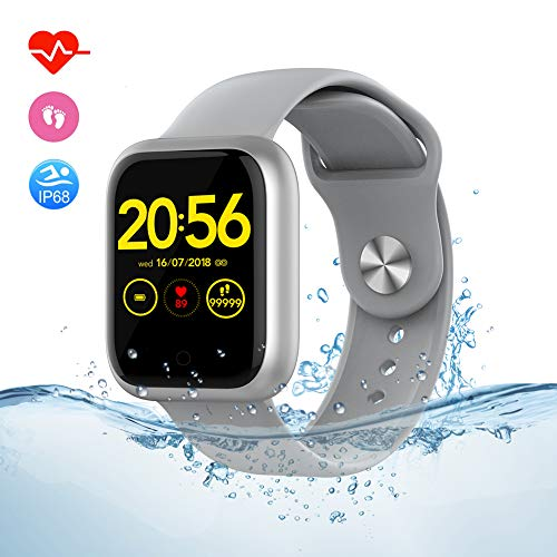 Fitness Tracker Smart Watch for Android Phones and I-Phone, Step Activity Tracker Smartwatch with Sleep & Heart Rate Monitor, IP68 Waterproof Bluetooth Fit Health Pedometer Watches for Men Women