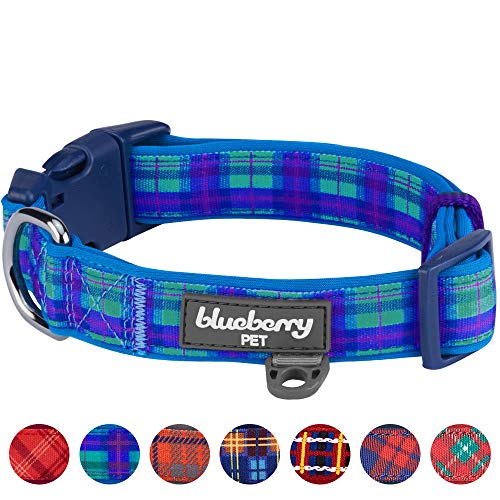 Blueberry Pet 7 Patterns Soft & Comfy Scottish Hudson Blue Plaid Tartan Style Designer Padded Adjustable Dog Collar, Large, Neck 18-26