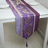 SAEKLL-Satin Jacquard leaf table runner, flags of modern Chinese 33195cm,Light purple