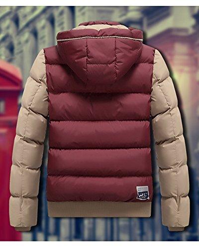 Más Chaqueta Outcoat Hombre abajo caliente ligero capa Invierno Mantener grueso la Rojo encapuchada de Bqq7At5gw