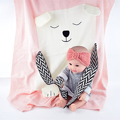 SUNBABY Polar Bear Children Knitted Blanket, Newborn Infant Swaddle Sleeping Blankets Sofa Beach Mat Photography Props (Pink)