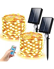 Holahoney Solar String Lights,Oversized Lamp Beads 33Ft Copper Wire Fairy Lights,100LED 8 Modes With Remote Control Waterproof Outdoor Lights for Gardens,Home,Party,Wedding,Yard,Patio