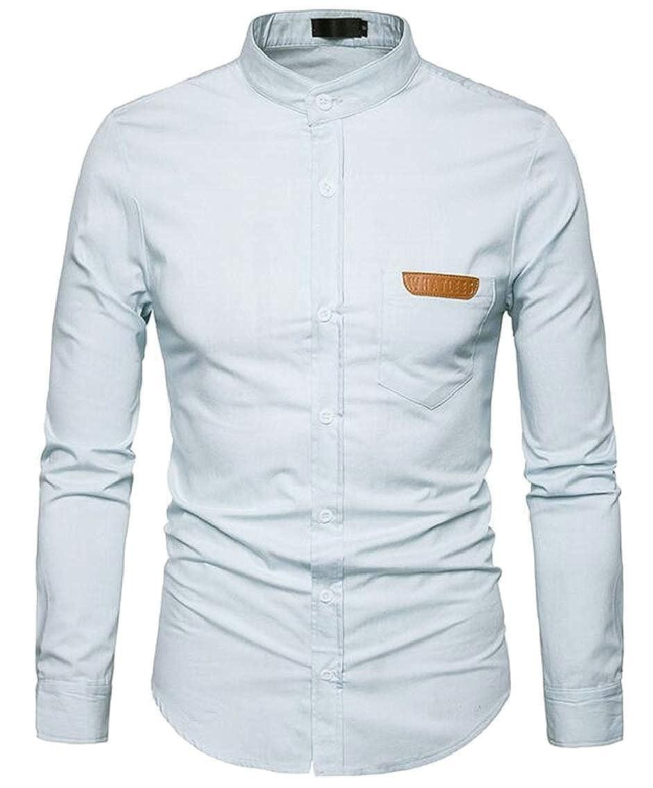 Hokny TD Mens Cowboy Casual Slim Washed Long Sleeve Denim Work Dress Shirt