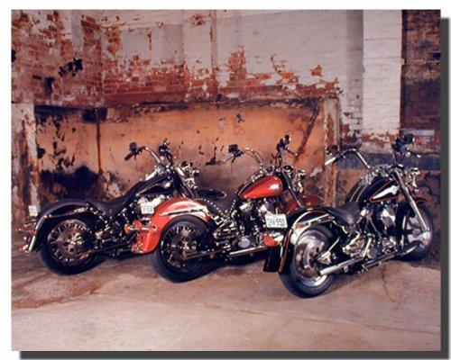 Harley Davidson Room Decor (Motorcycle Wall Decor Three Old Harley Davidsons B Lovell Bike Art Print Poster)