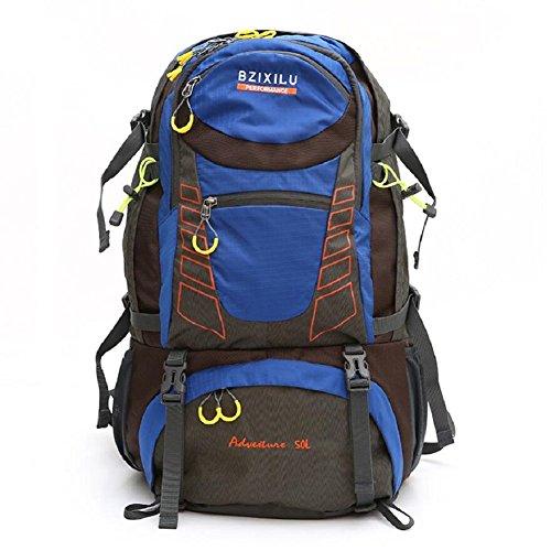 ZC&J Los hombres al aire libre y la mochila general de las mujeres, 50L de gran capacidad de viajes de montaña de viaje, anti-desgaste desgarro correa cinturón ajustable mochila,D,50L A