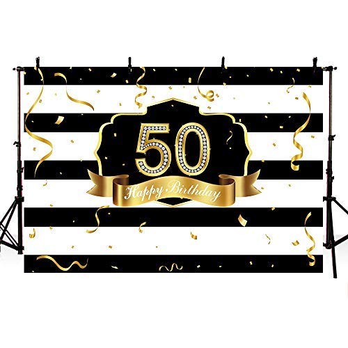 COMOPHOTO Glitter Diamond 50th Birthday Party Photography Backdrop for 8x6ft Black and White Stripe Gold Ribbon Adult Party Decoration Banner for Photo Shoot Background