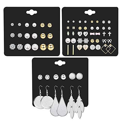 Crystal Studded Heart Earrings - Finrezio 35 Pairs Multiple Dangle Stud Earrings for Women Girls Cute Fake Pearl Crystal Ball Piercing Earrings Set