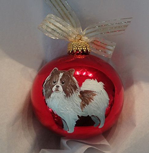 Pomeranian Brown White Dog Hand Painted Christmas Ornament - Can Be Personalized with Name