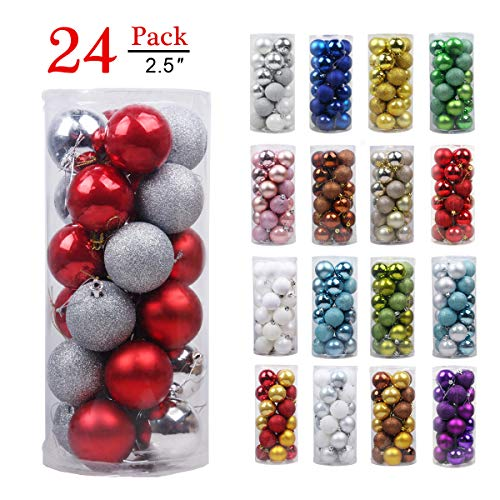 - GameXcel Christmas Balls Ornaments for Xmas Tree - Shatterproof Christmas Tree Decorations Large Hanging Ball Silver & Red 2.5