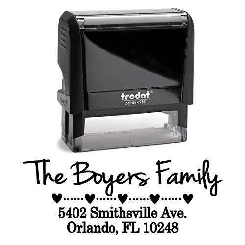 Black Ink, Hearts with Dots Personalized Custom Self Inking Return Address Stamp, Great for Sending Invitations for Birthday, Christmas, Holidays, Wedding Invitations and Business Office Mail Stampers