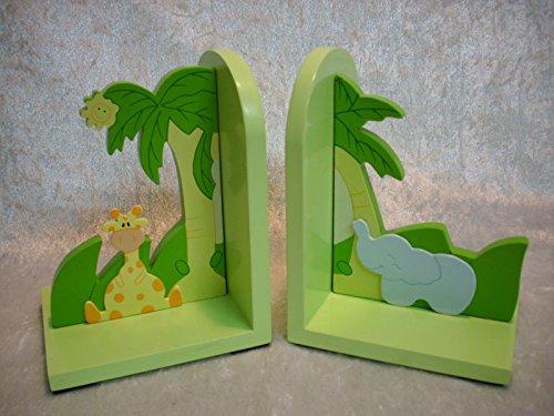 2 Set Buchstützen Afrika 14 cm Giraffe Elefant Holz Buchstütze Deko GTT 603