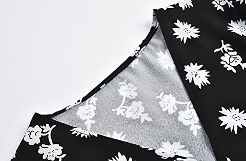 Cravatta Moda A Chiffon Senza Cime Corta Casual alla Ventre con Eleganti Shirts Grazioso Nero Fiore Top Neck Stampa Camicia Farfalla V Crop Manica Moda Donna Vintage qE5wZ1qa