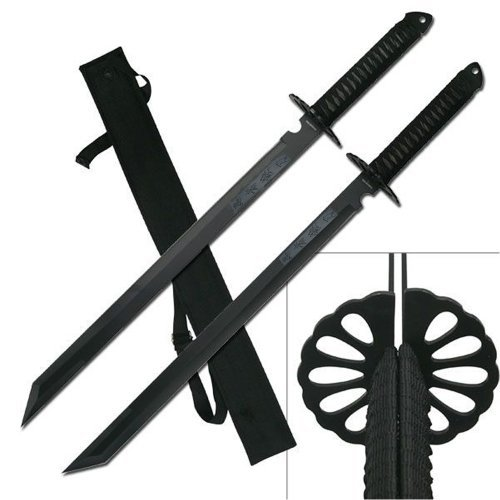 "2PC Combo Full Tang 28"" Tanto Ninja Katana Twin Sword Machete w/ Nylon Sheath + Black Chinese Engraved on Blade Edition"