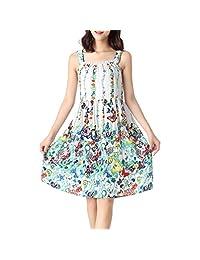 ENJOYNIGHT Women's Cotton Sleeveless Nightgown Chemise Plus Size Sleep Dress