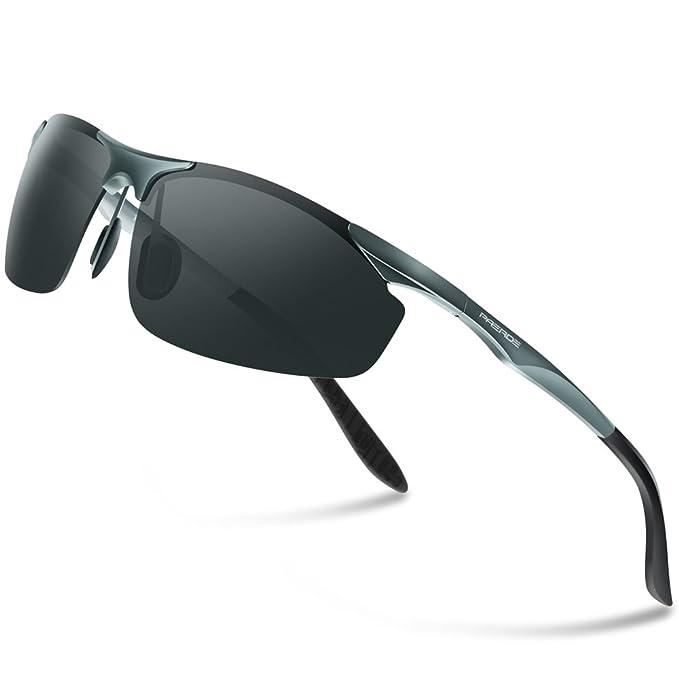 PAERDE Gafas de sol deportivas polarizadas para hombre con ultraligero y marco de metal irrompible PA03 8179 (Gris)