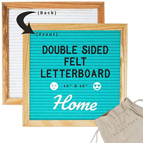 Double Sided Letter Board 10 x 10 (White Felt & Teal Felt) 536 Characters: Letters, Large Cursive Words, Emojis, Icon Symbols - Changeable Felt Message Board Set Includes Wood Stand & Wall Display