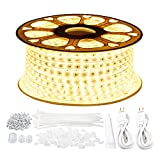 GuoTonG 131.2ft/40m LED Strip Rope Lights,Waterproof, 3000K Warm White,110V 2 Wire, Flexible, 2400 Units SMD 2835 LEDs,Indoor/Outdoor Use, Ideal for Backyards, Decorative Lighting