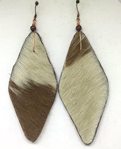 Amazon.com: Hair on Leather Rounded Diamond Earrings: Handmade