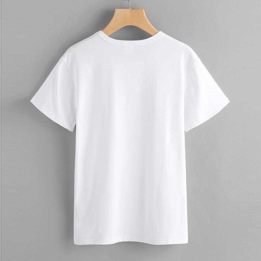 KEERADS Les Femmes La Mode D/écontract/é Manches Courtes O-Neck Cat Imprim/é Simple Causale Coton Tee Shirt Blouse Tops