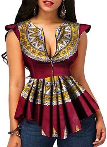 Viola Asseny Canotta Donna Estate Zip T-Shirt Africano Stampa Top Camicetta Tee Camicie 2XL
