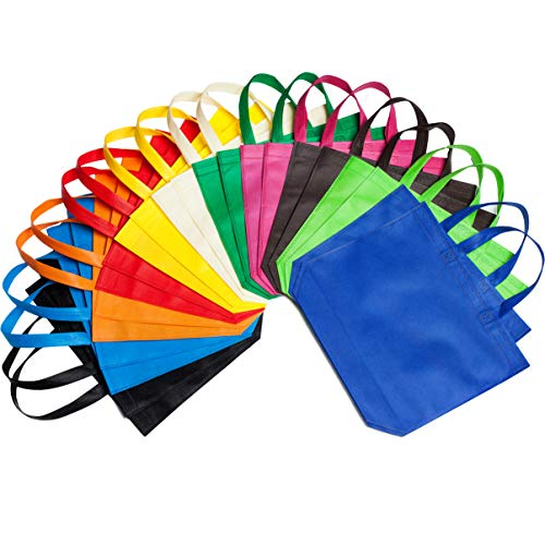 Color Canvas Tote Bags - LOUHUA 22 Pcs 15 Inch ×12.6 Inch Large Party Gift Tote Bags with Handles 11 Colors for Birthday Favors, Snacks, Delivery Bag, Rainbow Tote Bag