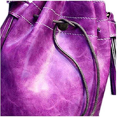 Mujer Bolso de Hombro - TOOGOO(R) Mujer borla con cordon bolso del cubo Bolsa de vagabundo hombro bolso de mano (Purpura)