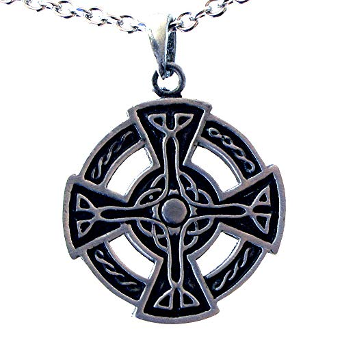 OhDeal4U Celtic Cross SunWheel Viking Shield Pewter Pendant Charm Amulet w Necklace (Stainless Steel Chain) ()