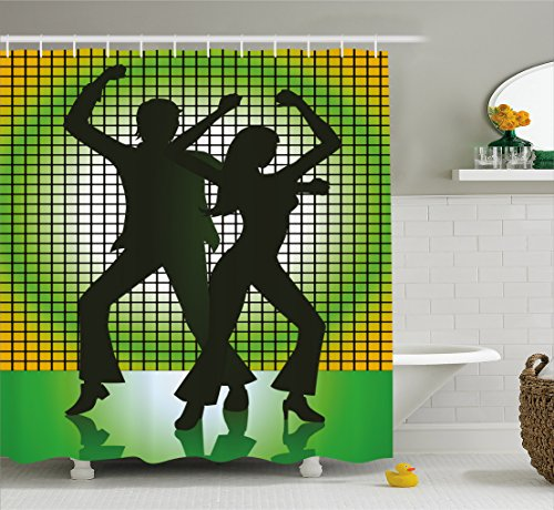 70s Party Decorations Shower Curtain by Ambesonne, Silhouette Illustration of Couple Dancing in Disco, Fabric Bathroom Decor Set with Hooks, 70 Inches, Light Green Dark Green Yellow