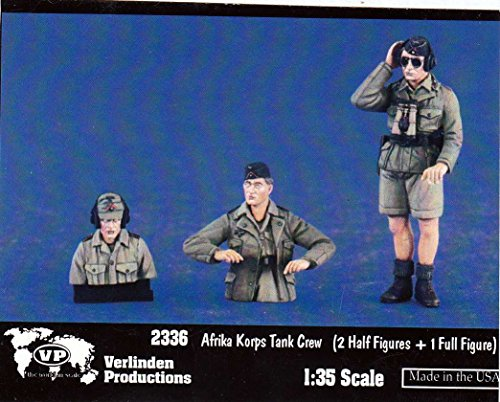 VER2336 1:35 Verlinden Afrika Korps Tank Crew Figure Set (2 half figures + 1 full figure) [MODEL BUILDING KIT] (35 Verlinden 2 Figure)