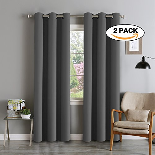FlamingoP Microfiber Noise Reducing Thermal Insulated Solid Ring Top Blackout Window Curtains / Drapes (Two Panels, 42 x 84 Inch, Deep (Gray Rectangular Ring)