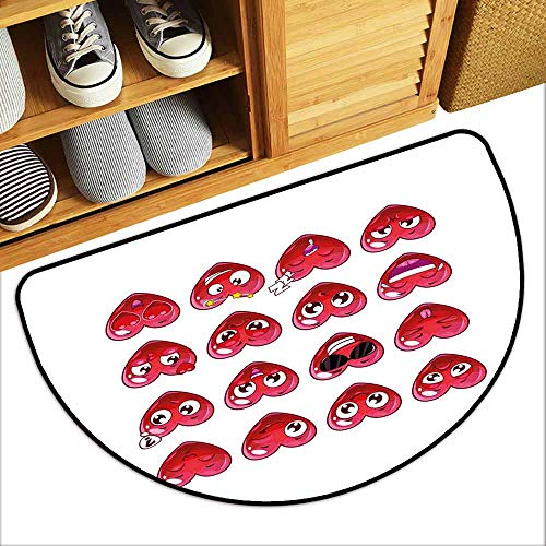 (YOFUHOME Emoji Antibacterial Doormat Abstract Cartoon Funny Facial Expressions Emotions Love Valentines Happiness Quick and Easy to Clean W31 x L19 Dark Coral Plum)