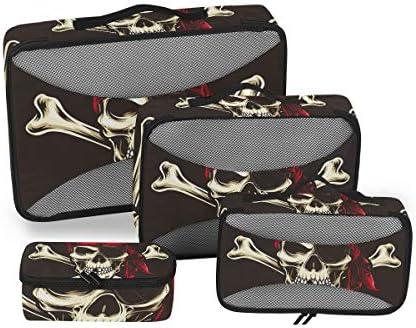スカルパイレーツレッドアート荷物パッキングキューブオーガナイザートイレタリーランドリーストレージバッグポーチパックキューブ4さまざまなサイズセットトラベルキッズレディース