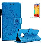 Funyye Strap Magnetic Flip Cover for Samsung Galaxy J7 2018,Luxury Blue Totem Flower Pattern Wallet Case with Stand Credit Card Holder Slots Soft Silicone PU Leather Case for Samsung Galaxy J7 2018,All Around Shockproof Ultra Thin Slim Fit Case for Samsung Galaxy J7 2018 + 1 x Free Screen Protector