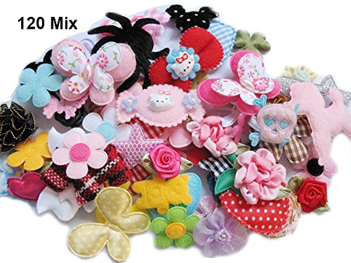 SALE YYCRAFT 120 Assorted Fabric Applique Scrapbooking Ribbon Flowers Bows Embellishment Sewing Craft Wedding Ornament