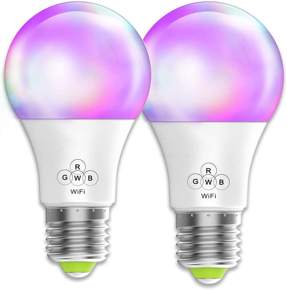 Smart WiFi Light Bulb RGBW Dimmable Colors Changing E26 E27 Base (60w Equivalent) 500 Lumens Remote Control Smart LED Bulbs No Hub Required Work with Alexa and Google Home Assistant 2 Packs