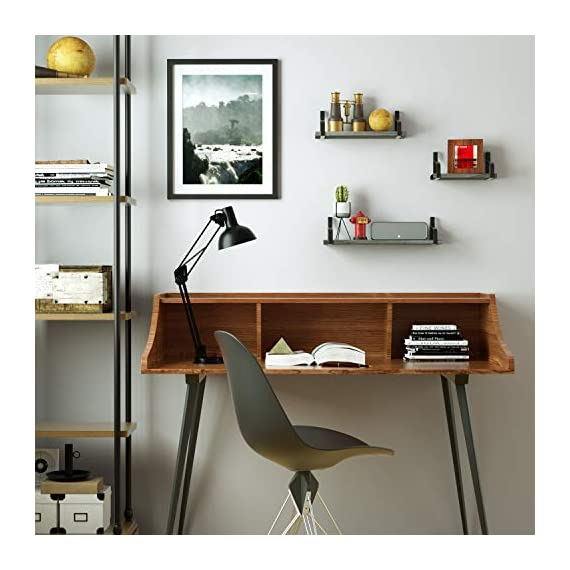 Love-KANKEI Floating Shelves Wall Mounted Rustic Wood Wall Shelves Set of 3 for Bedroom Living Room Bathroom Kitchen Weathered Grey - SIMPLE DISPLAY SHELVES - Simple design floating shelves constructed of solid Paulownia wood boards and powder coated metal brackets, perfect for displaying and holding collectibles, small plants, stuffed animals and more FUNCTIONAL STORAGE SHELVES - Useful for adding additional shelving space to store and organize small items or clutter in bedroom, bathroom, kitchen and more, great for clearing up the counter RUSTIC WALL SHELVES - Features rustic style with weathered grey finish wood and industrial metal brackets, decorative and great addition or accent to any wall space - wall-shelves, living-room-furniture, living-room - 51On77uzc1L. SS570  -