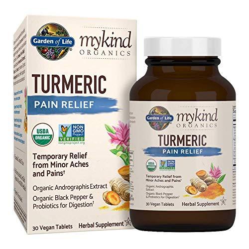 Garden of Life mykind Organics Turmeric Pain Relief 30 Tablets - 50mg Curcumin (95% Curcuminoids), Andrographis, Black Pepper & Probiotics - Organic, Non-GMO, Vegan & Gluten Free Herbal Supplements ()