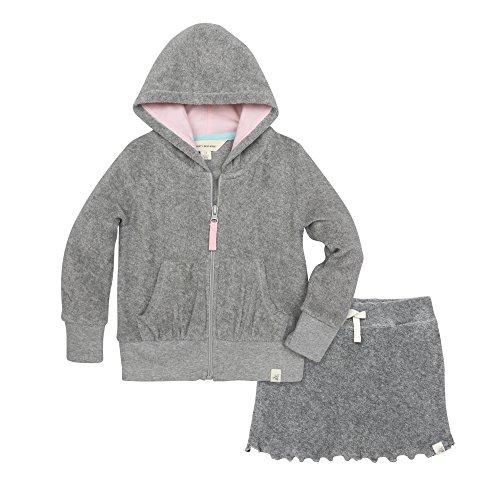 (Burt's Bees Kids Toddler Girls' Organic Knit Terry Gathered Pocket Hoodie and Skort Set, Heather Grey, 2T)