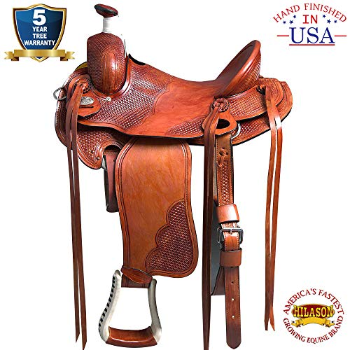 HILASON 16″ Western Leather Big Cowboy Roping Saddle Mahogany