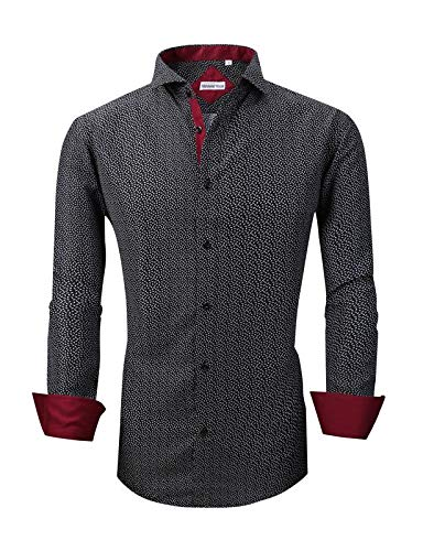 - Mens Long Sleeve Printed Dress Shirts Casual Button Down Regular Fit Men Shirt (Long-Black S