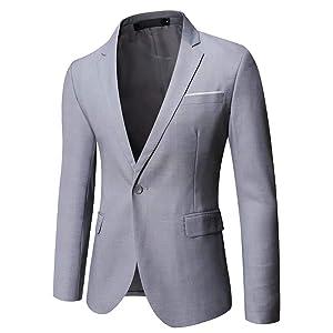 Gomy メンズ ジャケットスーツジャケット紺全8色一つボタン結婚式/ビジネス/カジュアル/オシャレ大きいサイズスリム抗シワ洗えるXS- 5XL ライトグレー