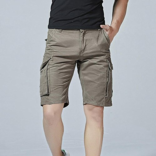 Faionny Mens Shorts Pants Solid Trouser Casual Pure Color Outdoors Pocket Beach Work Trouser Cargo Shorts by Faionny