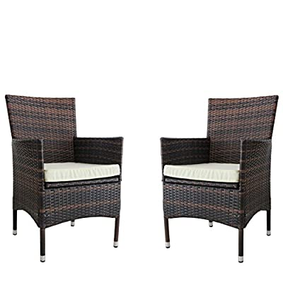 "Kosycosy 2 Pieces Patio Porch Furniture Set PE Rattan Wicker Chairs with Beige Cushions Outdoor Garden Furniture Set - Sturdy & Durable; Each seat supports up to 300 pounds; Resistant to sun, rain, heat; no worry to split, crack, fade, rot and deteriorate Comfortable & easy to clean; The thickness of cushion is 2"", which brings soft and comfort to everyone; the removable cover is washable Assemble easily and no need to maintenance; Made of high quality strong powder coated steel frame with waterproof PE wicker - patio-furniture, patio-chairs, patio - 51On8JhnISL. SS400  -"