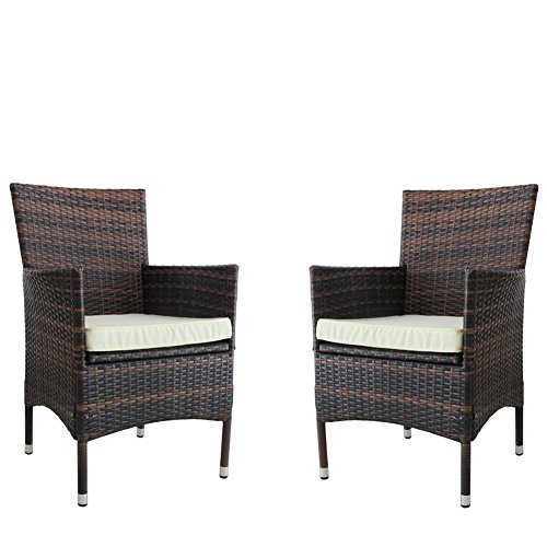 Kosycosy 2 Pieces Patio Porch Furniture Set PE Rattan Wicker Chairs with Beige Cushions Outdoor Garden Furniture Set