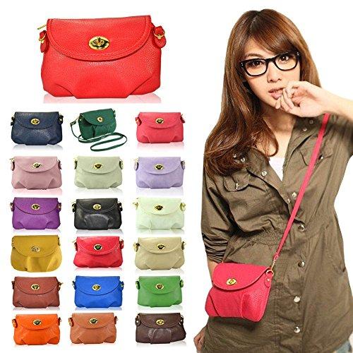 Hrph Neue Art und Weise der Frauen nette Mappen Umhängetasche Retro Kleine Taschen Solide PU-Leder Tasche #19