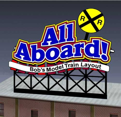 Aboard Hobbies - 44-1852 SM All Aboard anamated neon billoard by Miller Signs