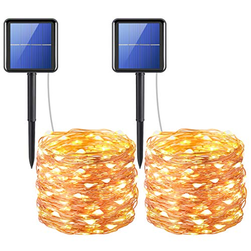 AMIR Solar Powered String Lights, 200 LED Copper Wire Lights, 72ft 8 Modes Starry Lights, Waterproof IP65 Fairy Christmas Decorative Lights for Outdoor, Wedding, Homes, Party, Halloween (Warm -