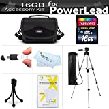 16GB Accessories Bundle Kit For PowerLead Puto PLD078, PLD009, PLD003, PLD010, PLD002, PL301, CAM06, PL-C05, Dcam PL-C10, Dcam PL-C20 HD, Besteker Camcorder Includes 16GB SD Card + Case + Tripod +