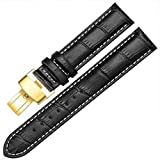12-17mm Genuine Leather Ladies Womens Gold Buckle Wrist Watch Bands Strap Replacement (14mm, Black & White Line)